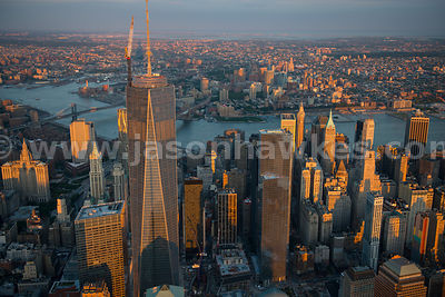 Aerial view of One World Trade Center, formerly known as the Freedom Tower