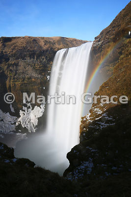 Skogafoss waterfall in late winter, Iceland south coast