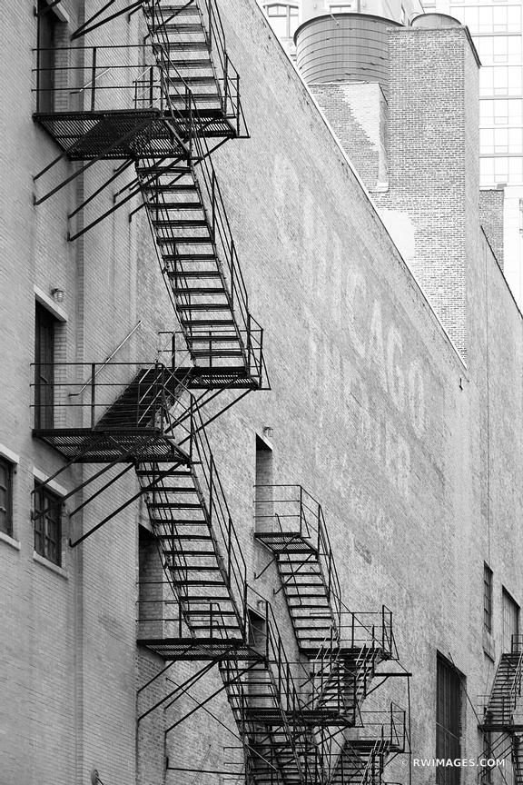 CHICAGO THEATER BACK ALLEY FIRE ESCAPE CHICAGO ILLINOIS BLACK AND WHITE VERTICAL