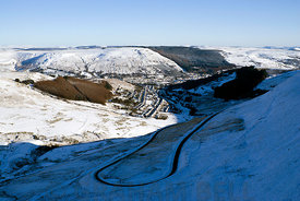 Treorchy and the Rhondda Valley from Bwlch Y Clawdd, South Wales.