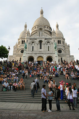 On the steps of the Sacre Coeur, Paris, France