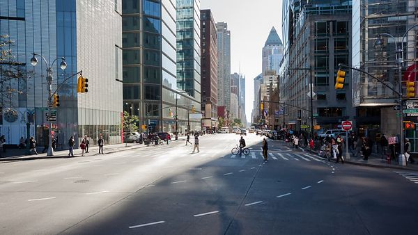 Medium Shot: Busy Midtown Intersection - Crosswalks & Cabs