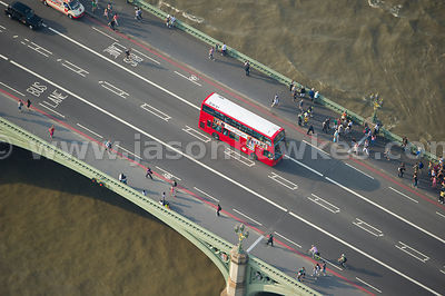 Aerial view of people walking over Westminster Bridge, London