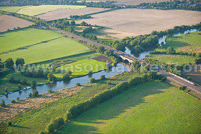 Aerial view, Rail bridge over River Thames