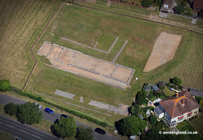 aerial photograph of Caister Roman Fort in Caister on Sea Norfolk England UK.
