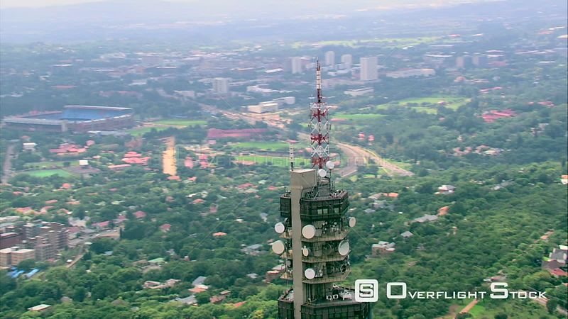 Aerial shot of the John Vorster Tower in Pretoria. Pretoria Gauteng South Africa