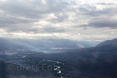 Aerial view of the Indus River Valley near Leh, Ladakh, India