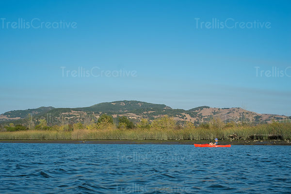 Woman in a red kayak exploring the Napa River, California