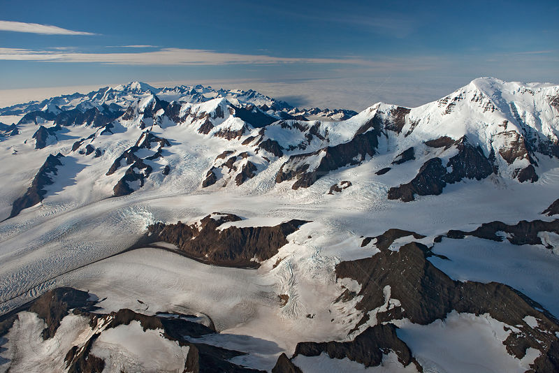 Aerial view of Nordenskjsld Glacier with Paget Glacier and Allardyce Mountain Range, South Georgia, March 2011