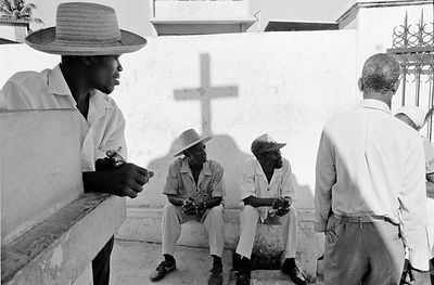 Haiti - Port Au Prince - Men talking in the National Cemetery