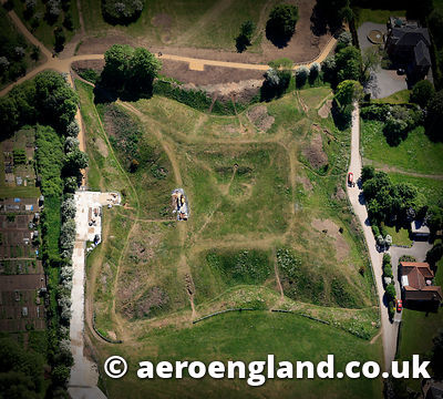 aerial photograph of the Queens Sconce English Civil War Earthworks in Newark Nottinghamshire  UK