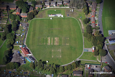 aerial photograph of Radcliffe Cricket Club Radcliffe Lancashire England UK