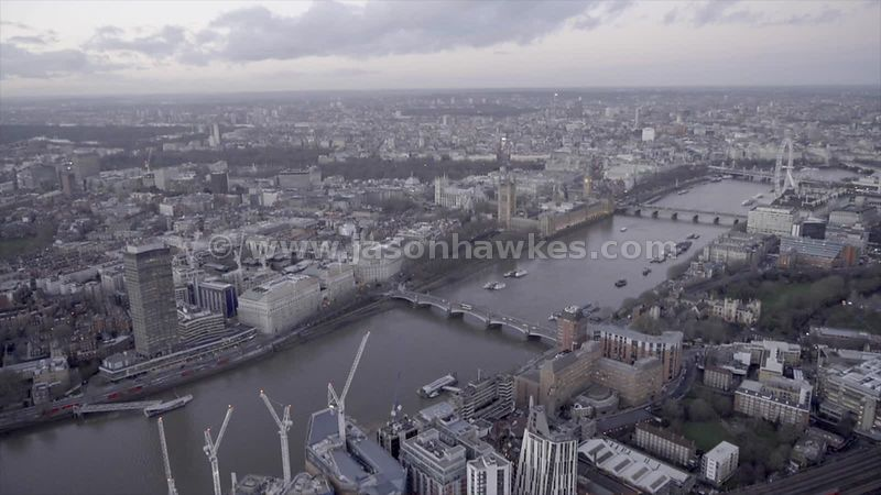 Aerial footage of Vauxhall and Westminster, London