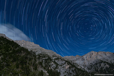 Startrail over Mount Olympus - Greece