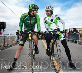 Antoine Duchesne (Europcar) and Conor O'Brien (Stevens) are called out before the start of Grand Prix Ste-Martine, April 27, 2014