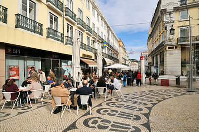 Chiado Square and the historic Cafe A Brasileira. Lisbon, Portugal