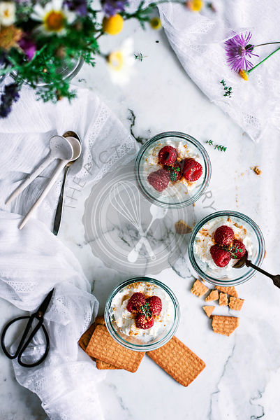 Cream of mascarpone cheese dessert pots