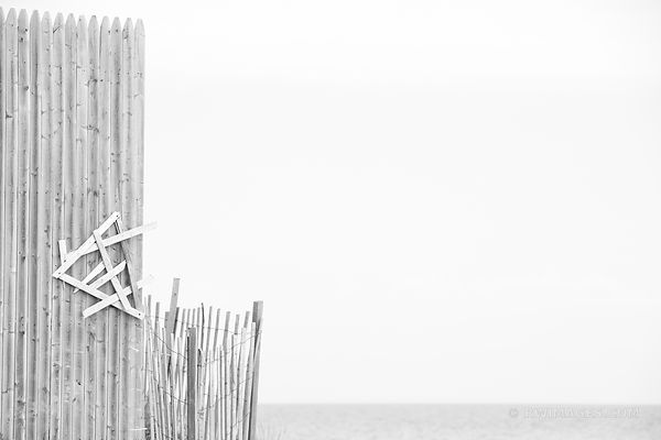 BEACH FENCE LONG ISLAND BLACK AND WHITE