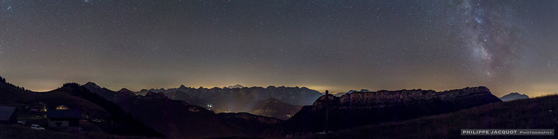 Aravis and Milky Way - Plateau des Auges Glières