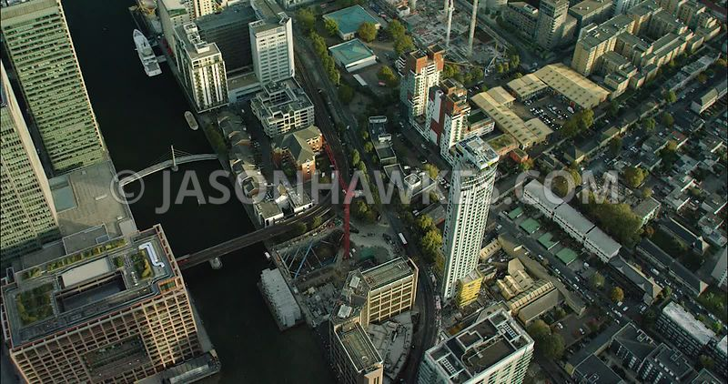 London Aerial Footage close up of Canary Wharf.