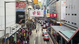 Medium Shot: Heavy Traffic On Foot & Motor, Downtown Hong Kong