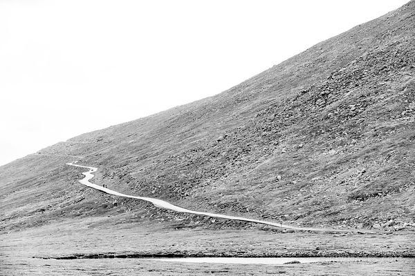 MOUNT EVANS ROAD SCENIC BYWAY ROAD COLORADO ROCKIES BLACK AND WHITE