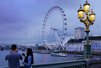 The London Eye Wheel from Westminster Bridge at Twilight