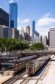 Chicago Skyline with Metra Train Station