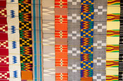 Strips of kente cloth for sale, Kpetoe, Ghana