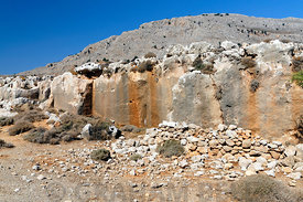 Ancient Stone Quarry near Stegna, Archangelos, Rhodes, Dodecanese Islands, Greece.