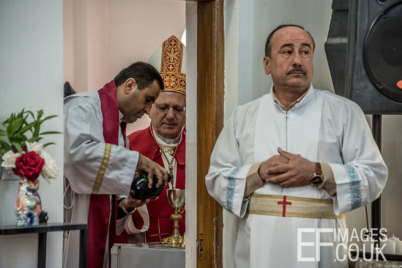 Mar Louis Raphael Sako, Patriarch Of The Chaldean Catholic Church Directs Preparation Of Holy Communion Wine On Maundy Thursday.