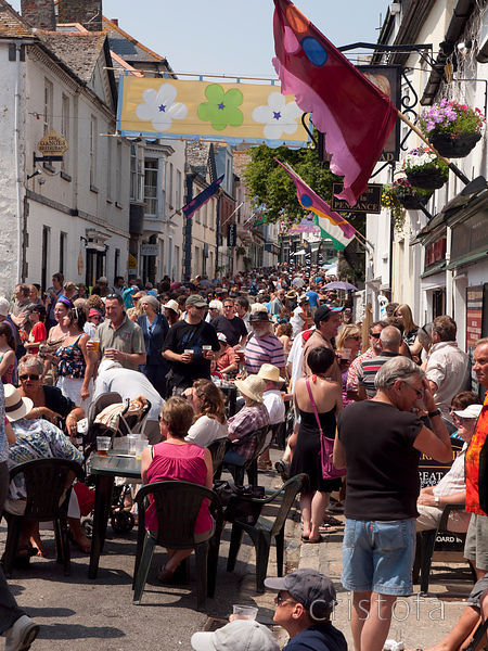 Chapel Street in Penzance on Golowan Festival Mazey Day