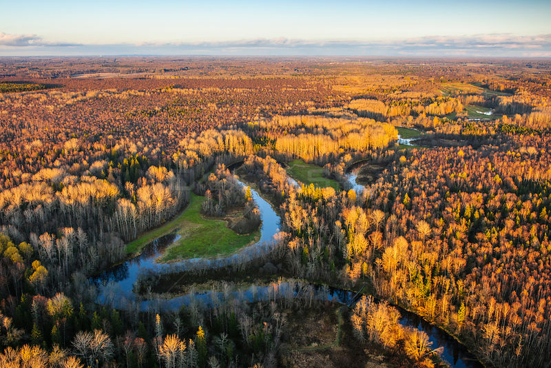 Aerial view over Pedja river in Tartumaa county, at sunset, Estonia, October 2010.