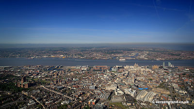 Panoramic aerial photograph of  Liverpool Merseyside England UK