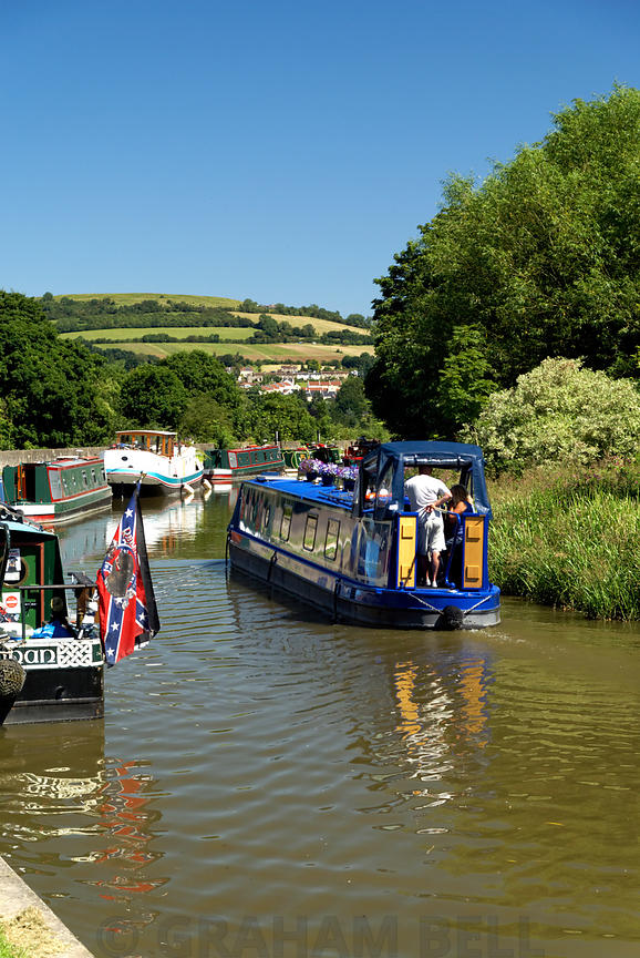 Narrow Boats on Kennet and Avon Canal, Bath, Somerset.