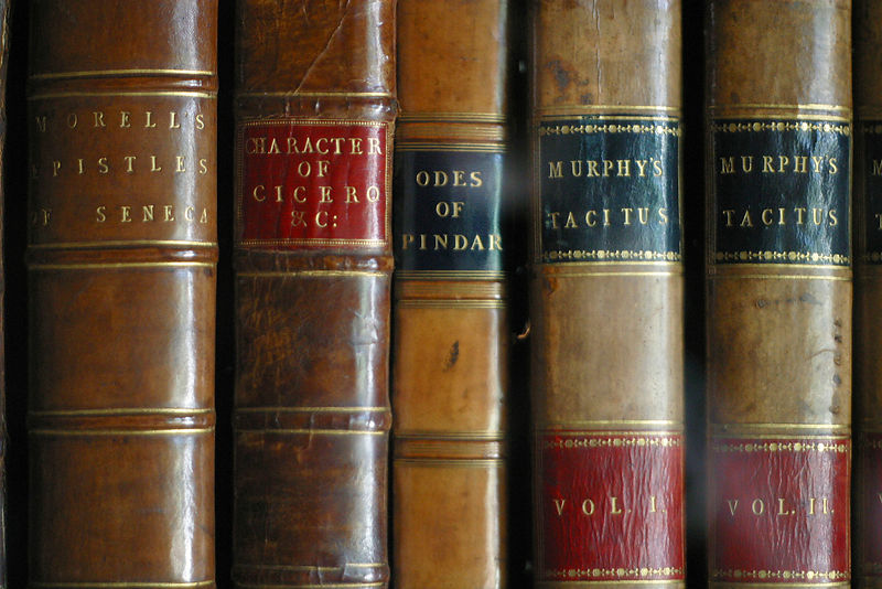 Detail of book spines at the Sir John Soanes Museum, London