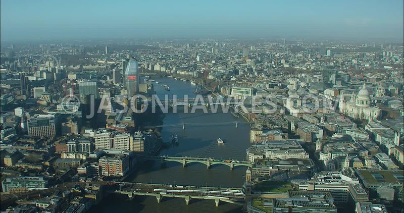 London Aerial footage, Cannon Street Railway Bridge towards Blackfriars Bridges.