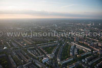 Aerial view of residential area in City of Westminster, London
