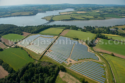 Aerial view of Solar Farm, Devon, United Kingdom