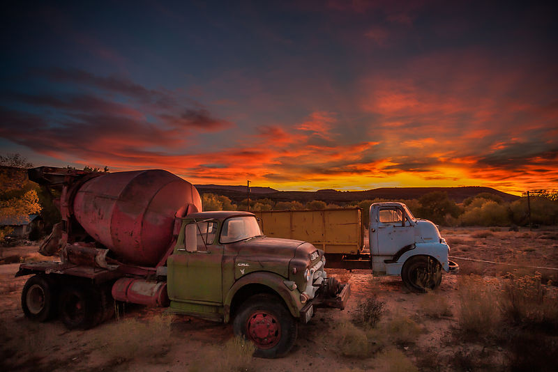 Vintage Trucks at Sunset