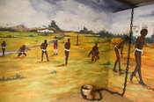 Paintings depicting slavery in Ussher Fort, Accra, Ghana
