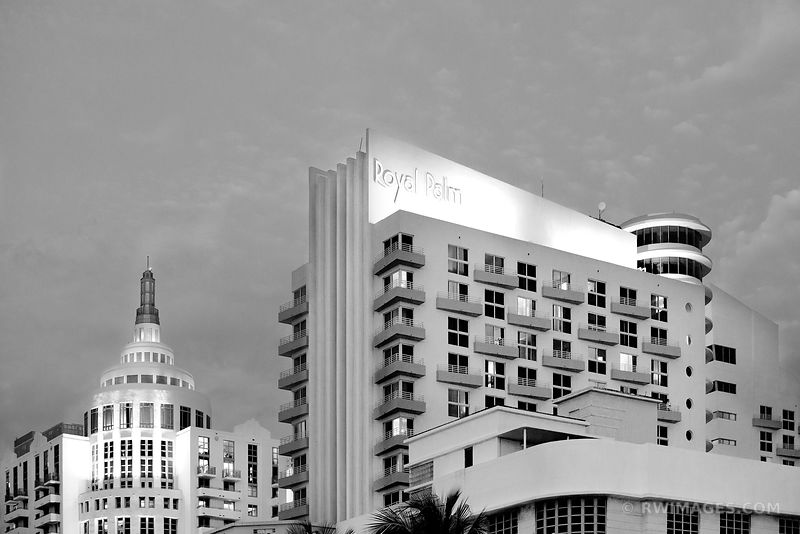 ROYAL PALM ART DECO ARCHITECTURE MIAMI BEACH FLORIDA NIGHT BLACK AND WHITE
