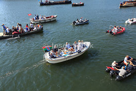Boats with participants and visitors of Sail Amsterdam 2015, Amsterdam, Netherlands