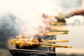 ayam percik, malaysia street food, grilled chicken sticks