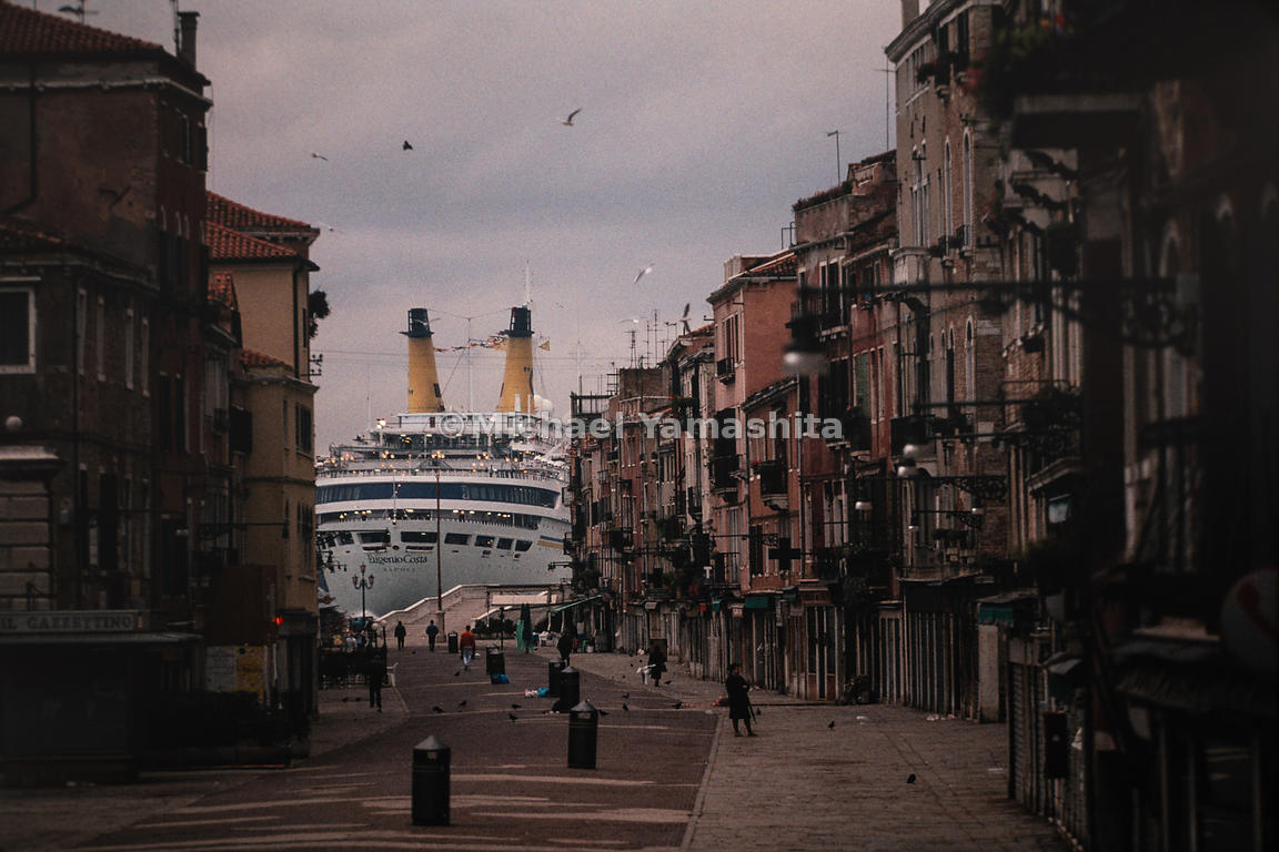The SS Eugenio C accommodated thousands of tourists from 1966 to 2005. Venice, Italy, October, 1993.