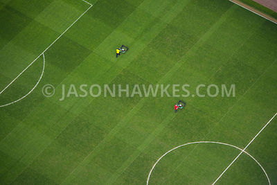 Aerial view of a football pitch