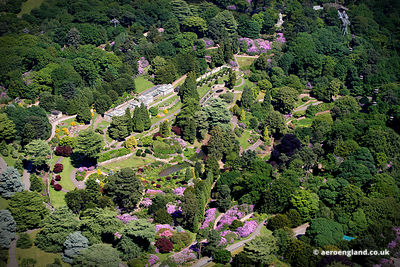 aerial photograph of  the gardens at Alton Towers Staffordshire  England UK