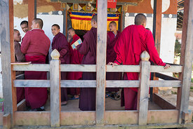 Monks at the Gangtey Shedra in the Phobjikha Valley, Bhutan.