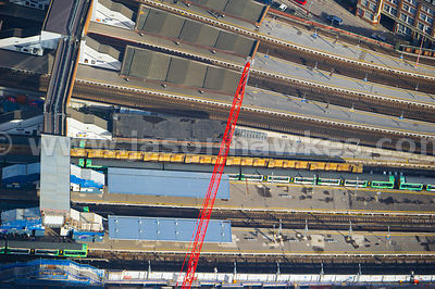 Aerial view of platforms at London Bridge station, London