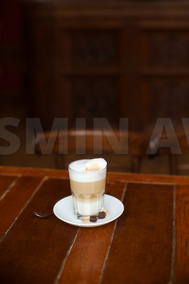 Fresh coffee in a glass ..Shallow DOF